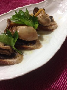 牡蠣フランスパンの写真