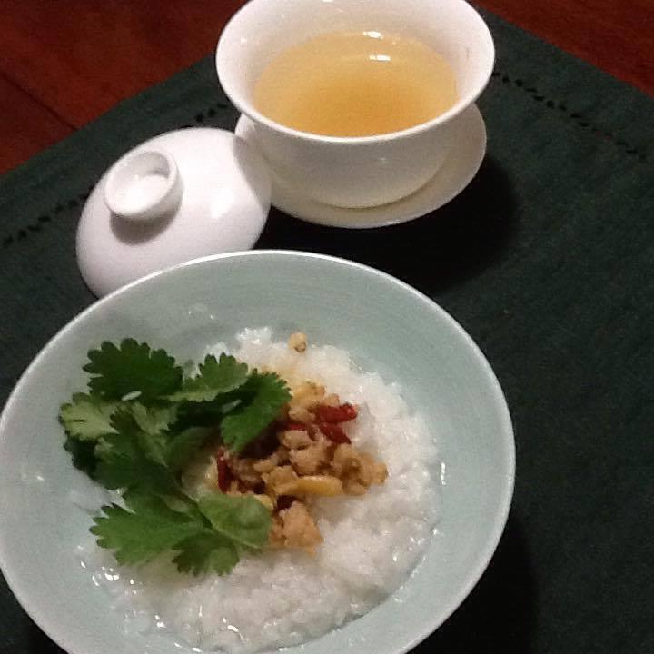 柚子茶と鶏そぼろおかゆ